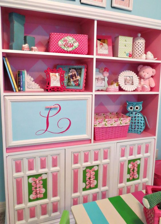 Custom painted dresser with wallpapered backing - #nursery #storage
