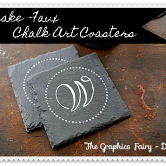 Make some Faux Chalk Art Coasters