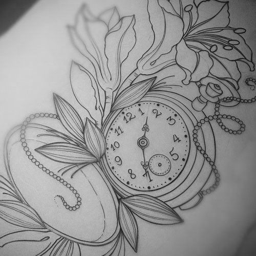 This will be my next tattoo if I get one. With the time Land on was born and with blue flowers.