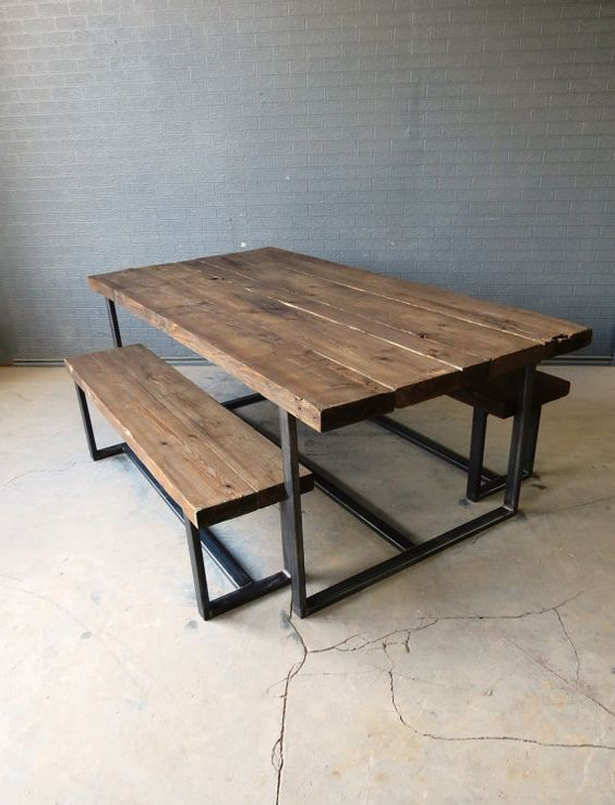 Etsy - Retro Corner 1 | Reclaimed Industrial Chic 6-8 Seater Solid Wood and Metal Dining Table | £295 (£70 p&p)