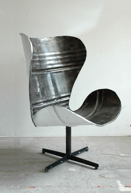 Po-Paris Design - Steel-barrel chair...haha....great idea for version of the Egg…