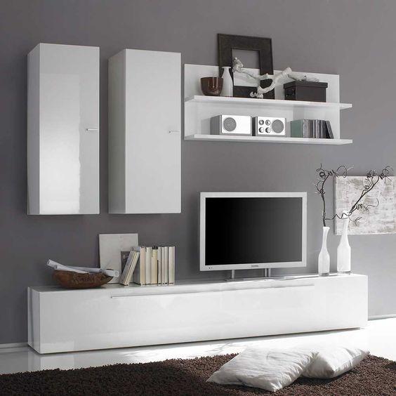 TV Anbauwand in Hochglanz Weiß 210 cm (4-teilig) Jetzt bestellen