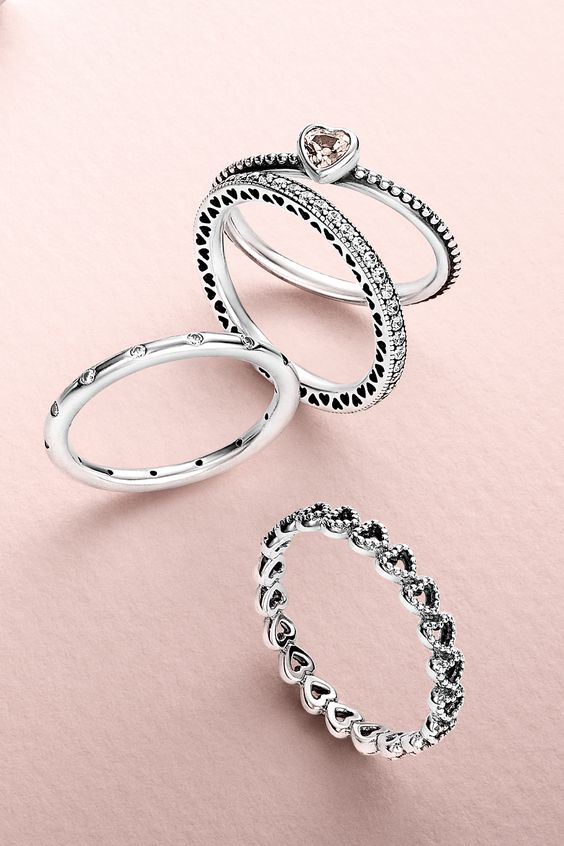 Create a romantic look by stacking cute heart-shaped rings. #PANDORA #PANDORAring
