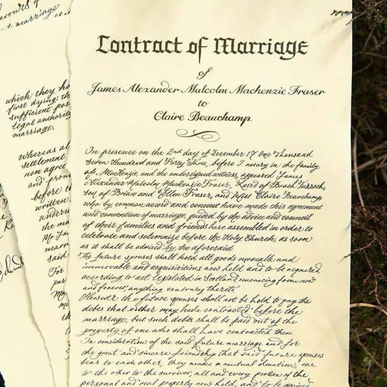 The marriage contract of James Alexander Malcolm MacKenzie Fraser and Claire Beauchamp. -  Outlander Starz