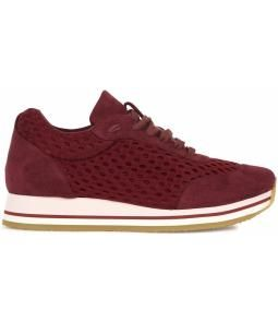 Burgundy faux suede trainers