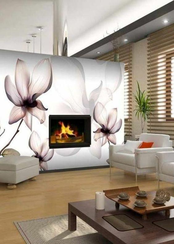 luxuriöses wohnzimmer kamin wanddeko mit blumen sessel tisch dekoration