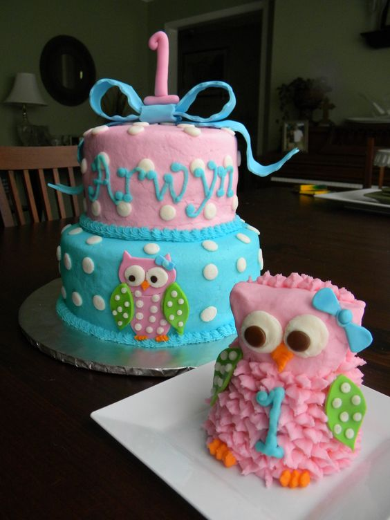 Owl 1st Birthday Cake and Smash Cake