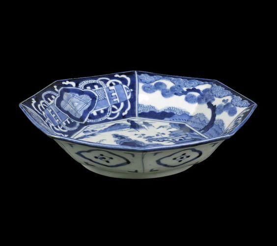 japanese bowls   Japanese Arita Porcelain Bowl With Rocky Landscape 19th C. - Antiques ...