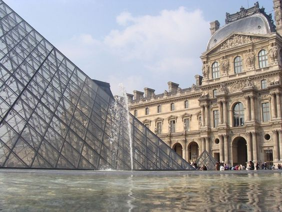Paris - Le Louvre art gallery.Sadly the queue to visit was round the courtyard, out the gates & down the road & we just couldn't afford the time. Good excuse to return