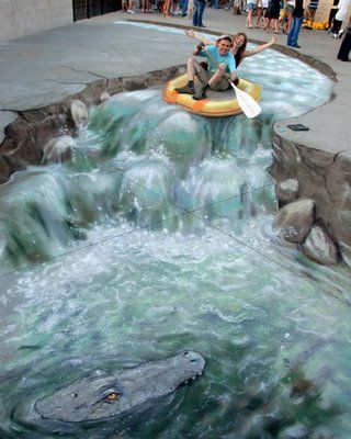 I Love Chalk Art in the street! This is by Julian Beever.