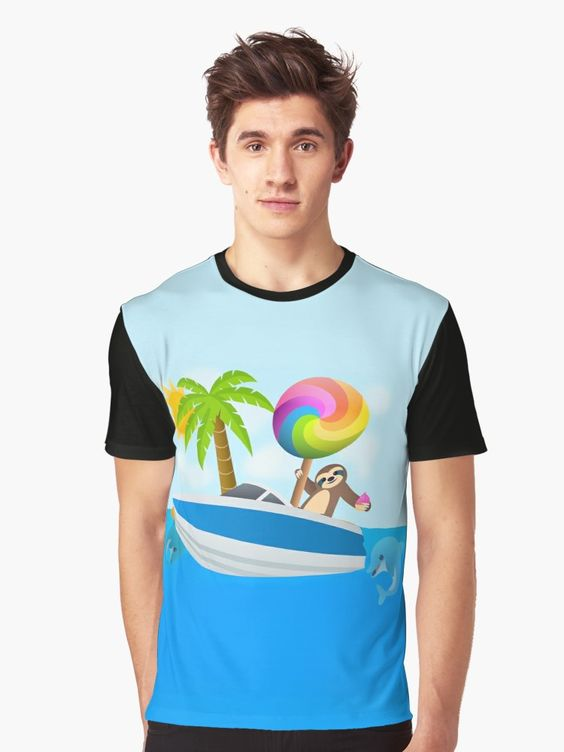 Sloth Down and Enjoy Life, Island Paradise Joypixels Emoji Graphic T-Shirt