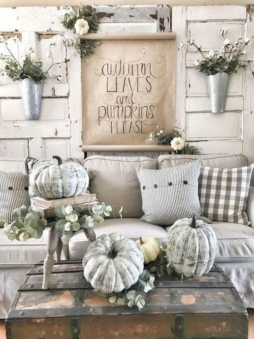 Stone Fireplace In Family Room With Fall Decor And Lanterns Fall Living Room Fall Living Room Decor Fall Decor Inspiration