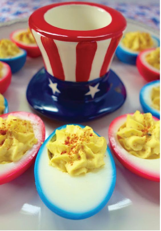 Patriotic Deviled Eggs – This appetizer is sure to be a hit at your 4th of July party. Click here for the easy recipe!: