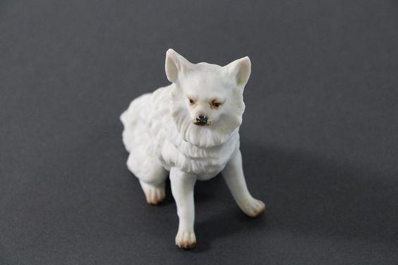 Hund Spitz Bisquitporzellan ~1900 top