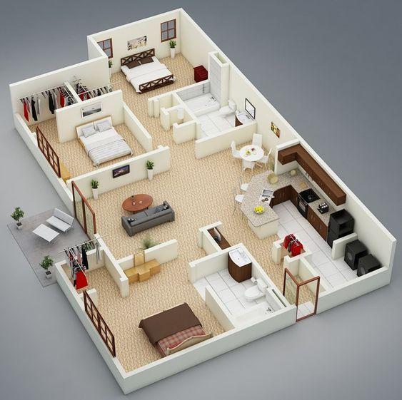 Apartamentos 2 Habitaciones 3d Post 9 Planos Y Casas Esp En 2020 Planos De Casas Medidas Planos Para Construir Casas Modelos De Casas Interiores