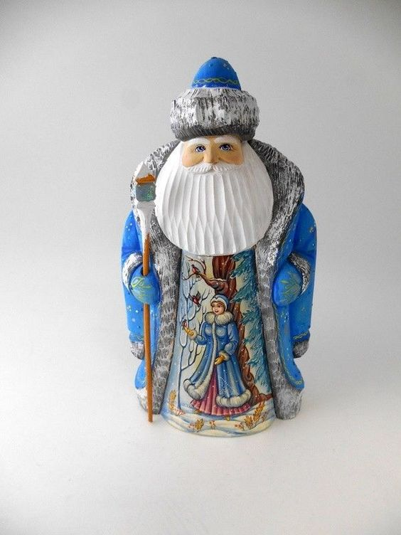 """Russian Hand Carved Hand Painted Wood Santa Father Frost 9"""" Snow Maiden Signed"""