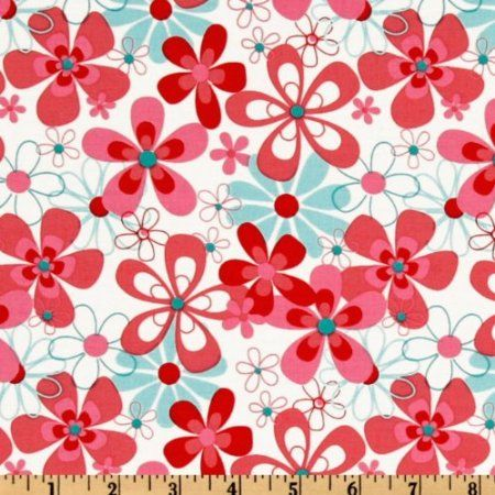 Michael Miller Aqua Red Nearby Floral Aqua Fabric: Arts, Crafts & Sewing