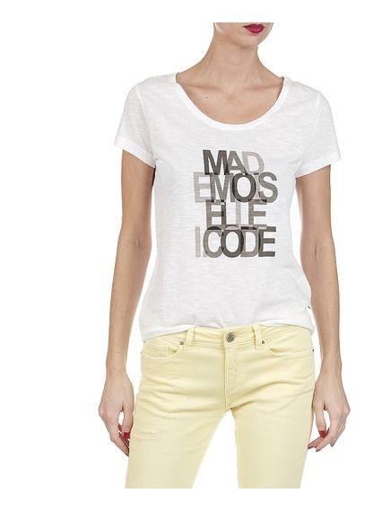 Tee-shirt en coton flammé avec sérigraphie message Blanc by I CODE BY IKKS
