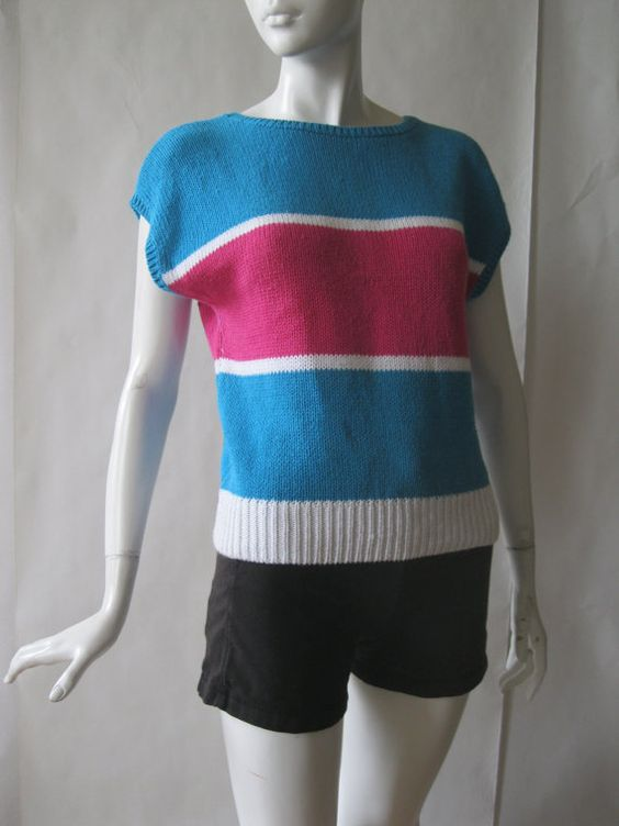 Vintage short sleeve sweater 1980s striped in by afterglowvintage, $24.00