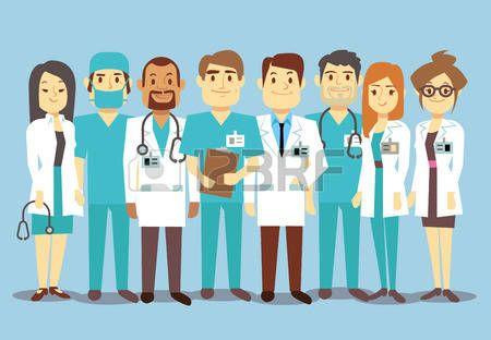 Hospital equipe médica equipe médicos enfermeiras cirurgião vetorial plano Ilustração do médico do caráter com estetoscópio, equipe confiável de médicos Banco de Imagens - 61844992