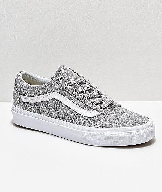 Vans Old Skool Silver & White Glitter Skate Shoes | Silver