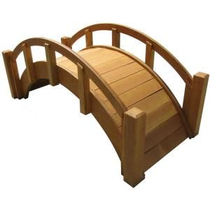 25 in. Miniature Japanese Wood Garden Bridge - Waterproofed