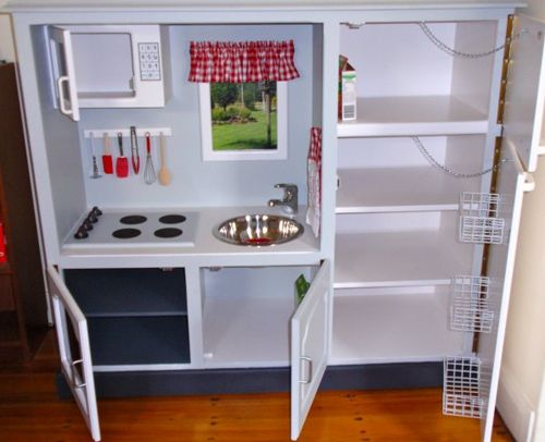 Kiddie Kitchen  from an old tv cabinet  what a cute idea
