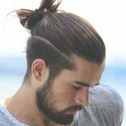 Long Hair On Top With Short Sides Man Bun Top Knot Male Ponytail Short Taper Fade Full Beard Man Bun Hairstyles Long Hair Styles Men Long Hair On Top