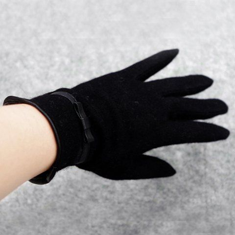 Pair of Chic Small PU Bow Embellished Solid Color Winter Gloves For Women