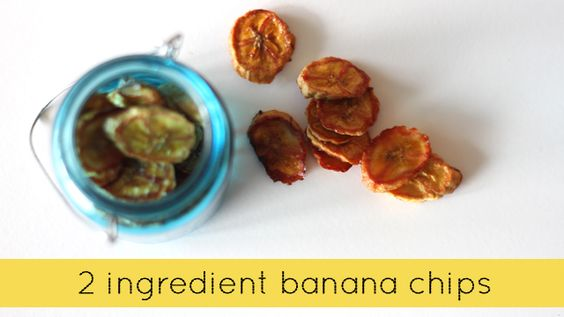 Two ingredient baked banana chips