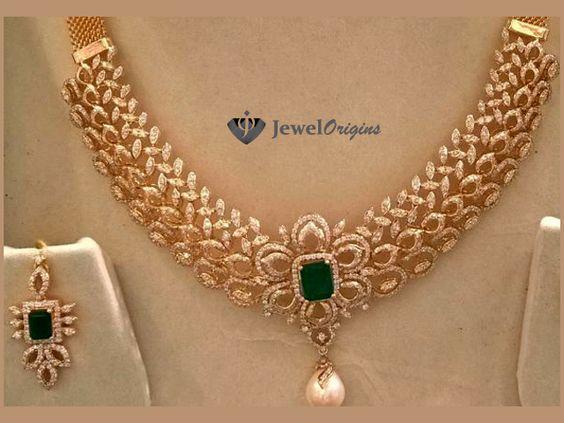 Diamond Necklace Set | jewelorigins.com-Indian Designer Gold and Diamond Jewellery,Indian Bridal Jewellery