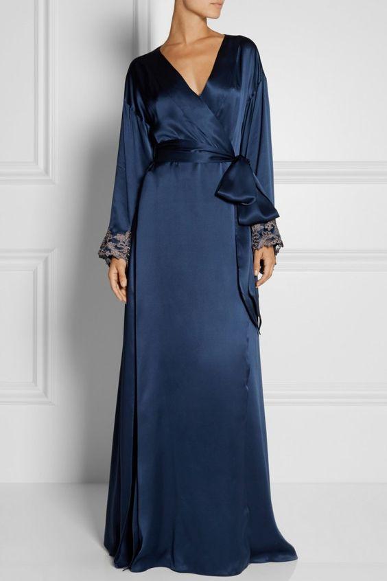 La Perla Maison Lace Trimmed Silk-Satin Robe via Net-A-Porter