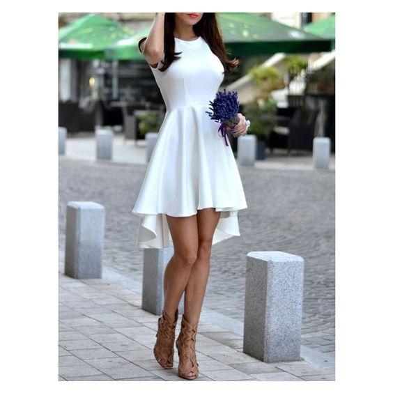 White Sleeveless Asymmetric Hem Flare Dress ($14) ❤ liked on Polyvore featuring dresses, no sleeve dress, asymmetrical hem dress, white flared dress, sleeveless dress and white sleeveless dress