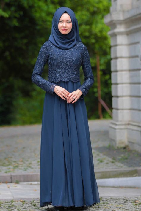 Evening Dress - Lace Detail Navy Blue Hijab Dress 76463L