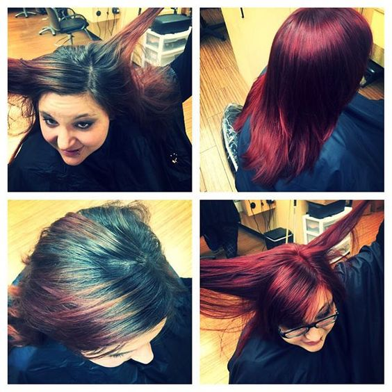 Great color! Horrible roots before and then awesome red after #ryangoodmanstylist #color #idaho #reds #gorgeous