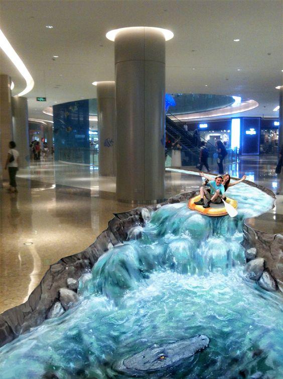 Lukisan gambar 3d di lantai yang spektakuler dayung for Bathroom floor designs 3d
