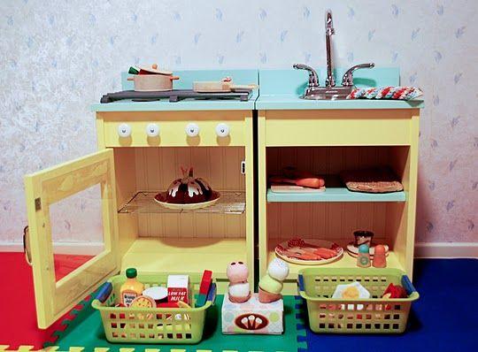 Totally beautiful DIY kitchen Rambling Renovators made for their daughter.
