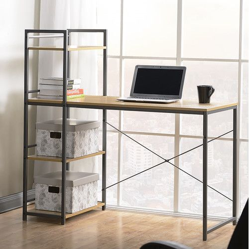 Found it at AllModern - Desk with Built-In 4 Shelf Bookcase