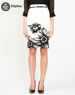 As Seen On CityLine. Le Chateau: Floral Cotton Sateen Pencil Skirt, $49.95