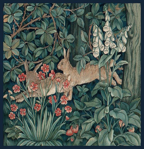 Morris & Co ~ Greenery Tapestry (detail of rabbits