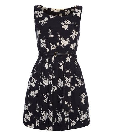 Love this Black & White Floral Belted A-Line Dress by Iska London on #zulily! #zulilyfinds