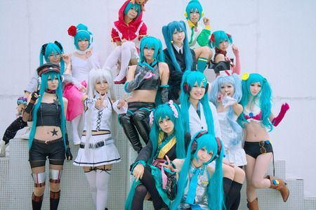 Miku Hatsune Project Diva Modules Cosplay Group (L-R): Punk, Stroll Style, White Dress, Aile D'anje, Hood, Space Channel 39, Butterfly, Default, Saihate, School, Jersey, Spacy Nurse, Heart Hunter, Pink Pops.