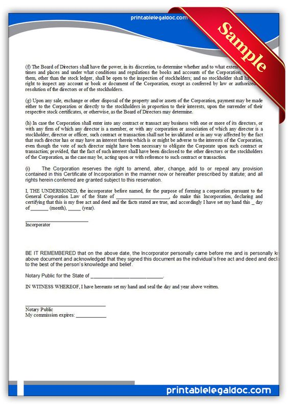 Free Printable Certificate Of Incorporation | Sample Printable