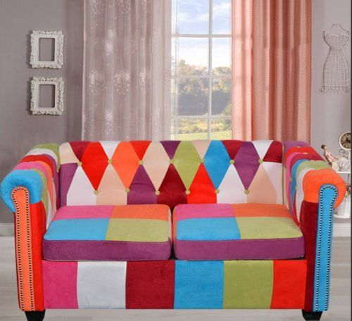Chesterfield 2 Seater Sofa Coloful Fabric Patchwork Settee Retro Multi Colour Co Large Living Room Furniture Modern Furniture Living Room Living Room Furniture Multi colored living room furniture