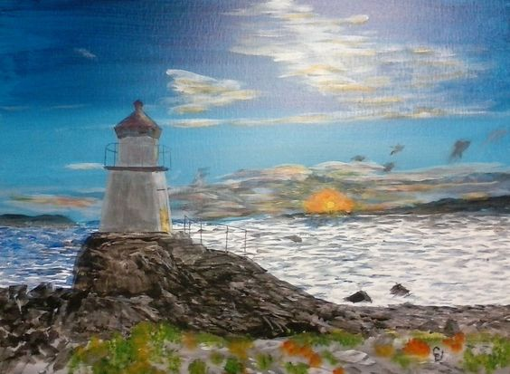"""Pikesten Fyr"" 24 x 18 acrylics on canvas panel was inspired by a photo posted on FB.  I fell in love with it and received permission from the photographer, Bent Velling. He told me the name. ""FYR"" is Norwegian for ""lighthouse."""