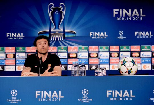 Luis Enrique manager of Barcelona talks during an FC Barcelona press conference on the eve of the UEFA Champions League Final match against Juventus at Olympiastadion on June 5, 2015 in Berlin, Germany.