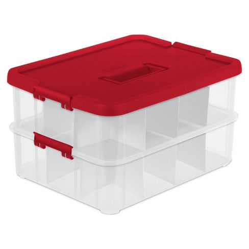 Sterilite 2 Layer Stack Carry Ornament Box Clear With Red Lid