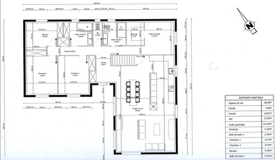 Photo plan de maison en l 3 chambres 1 bureau plans for Maison 3 chambre