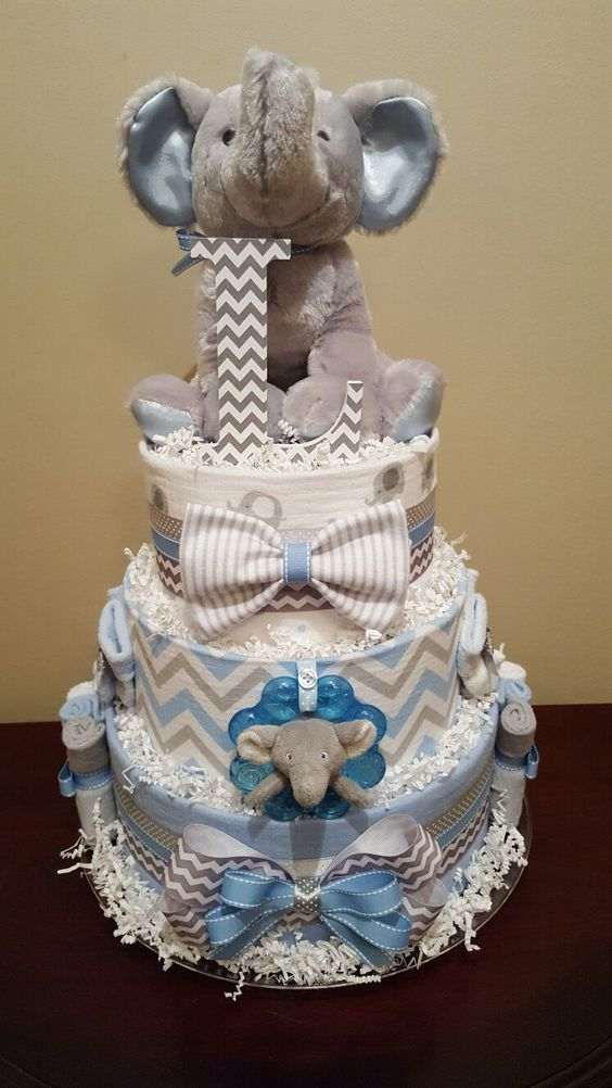 Grey and blue elephant diaper cake it s a boy baby
