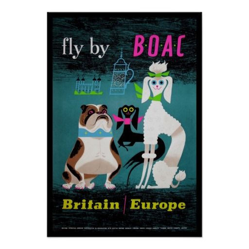 British puppies Vintage Travel Poster